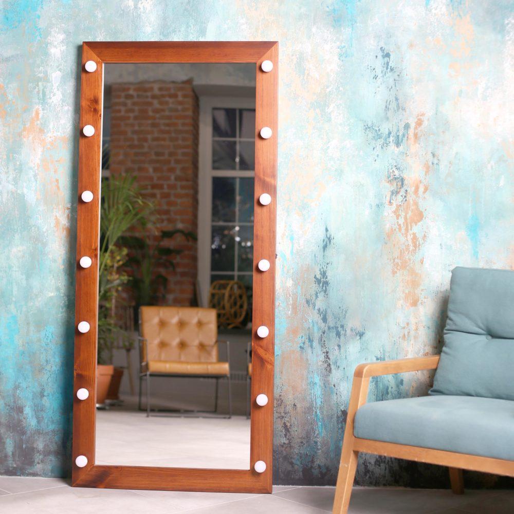 Гримерное зеркало напольное коричневое