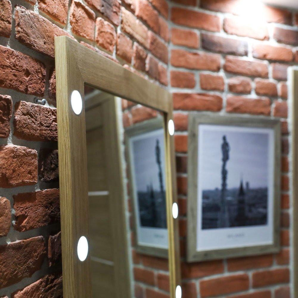 напольное / настенное зеркало со светодиодной подсветкой в дубовой раме