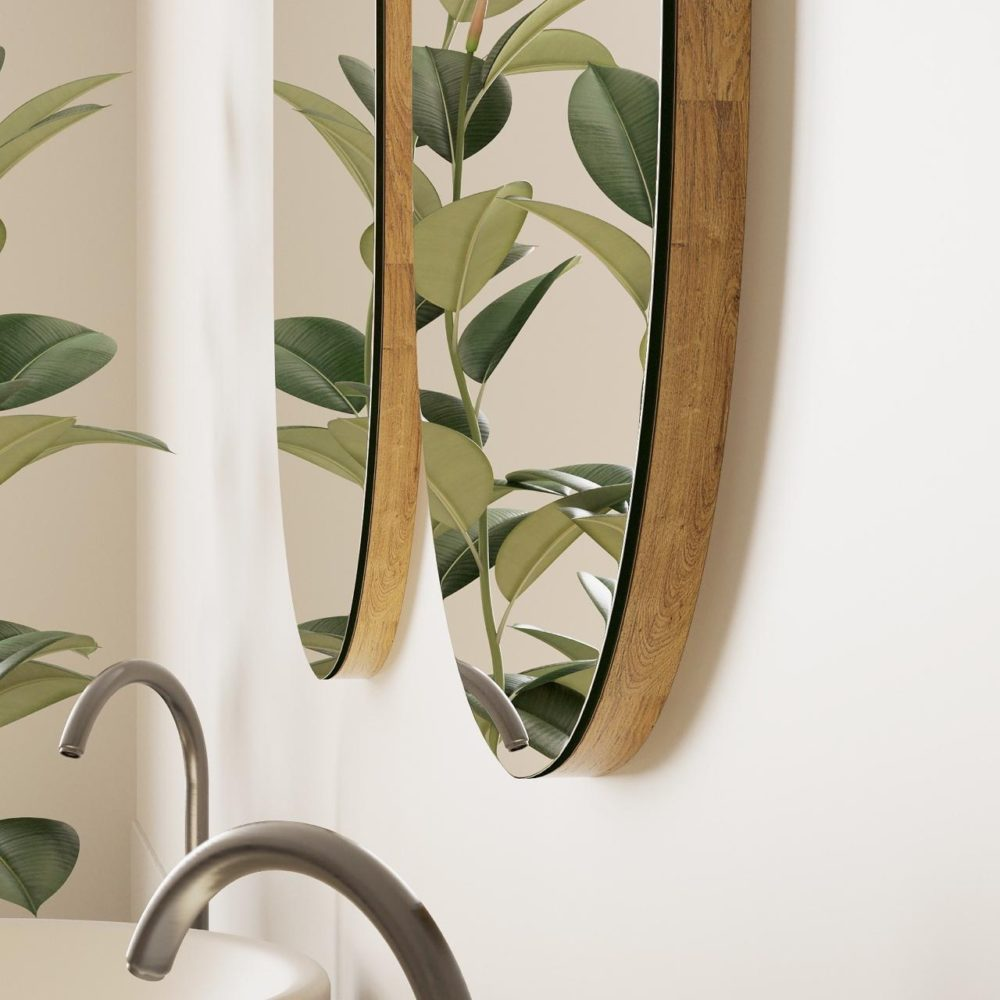 Настенное зеркало в ванную дуб